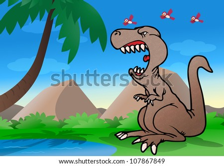 illustration of a dinosaur roaring in anger ready to attack on nature background