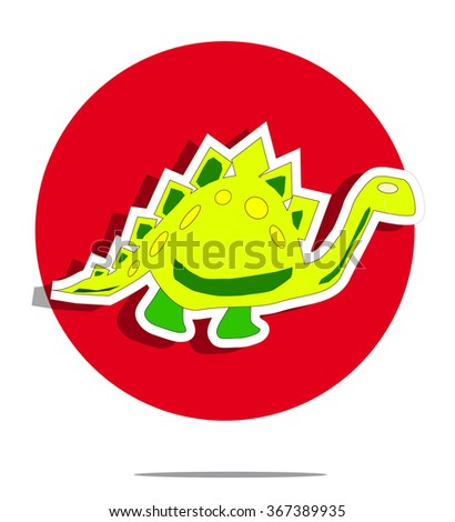 Illustration of a dinosaur with red circle background - stock photo