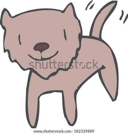 Illustration of a dog wagging its tail