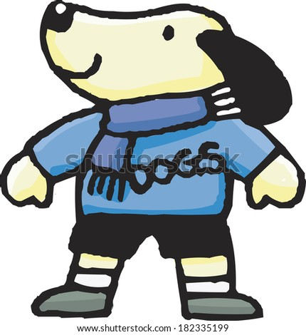 Illustration of a dog wearing winter clothes