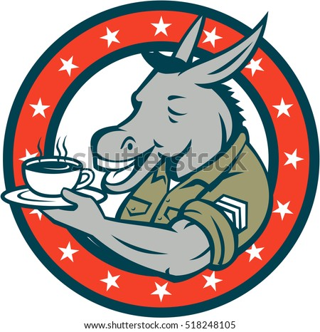 Illustration of a donkey army sergeant smiling holding cup and saucer drinking coffee viewed from the side set inside circle with stars done in cartoon style.