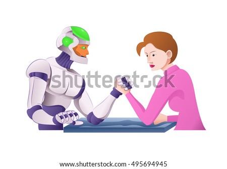 illustration of a droid robot arm wrestling with woman on isolated white background