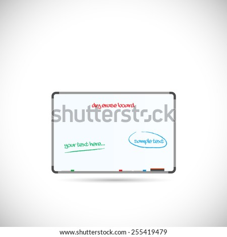 Illustration of a dry erase board isolated on a white background. - stock photo