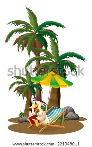 Illustration of a duck reading near the palm trees on a white background - stock photo