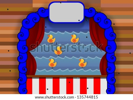 Illustration of a duck shoot carnival game - stock photo