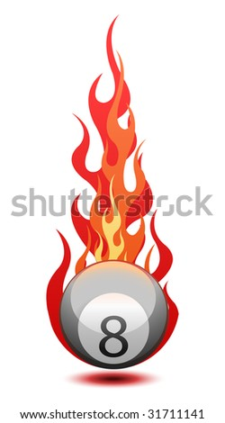 Illustration of a Eight billiard ball in fire - stock photo