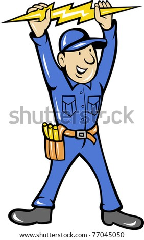 illustration of a electrician holding up an electric lightning bolt standing front  done in cartoon style on isolated background - stock photo