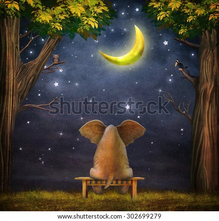 Illustration of a elephant on a bench in the night forest