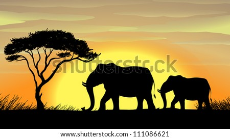 illustration of a Elephant standing under a tree - stock photo