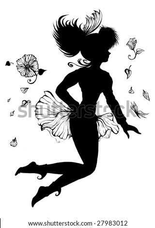 Illustration of a fairy in flight. Black and white isolated against a white background
