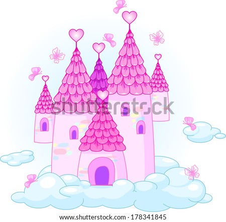 Illustration of a Fairy Tale Princess Castle in the sky. Raster version.   - stock photo