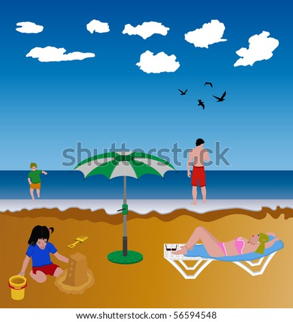 illustration of a family spending the summer at the beach