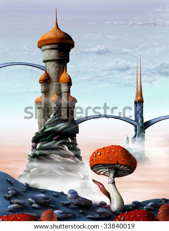 Illustration of a fantasy castle in an alien world - stock photo