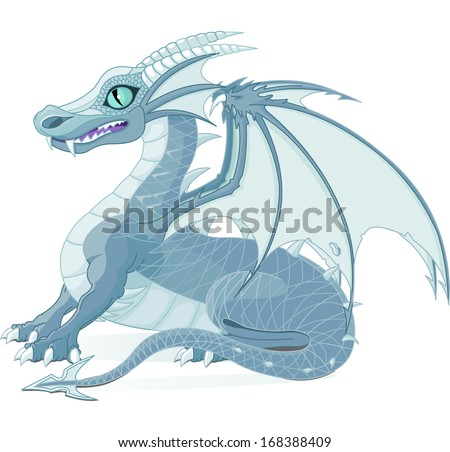 Illustration of a fantasy ice dragon. Raster version.   - stock photo
