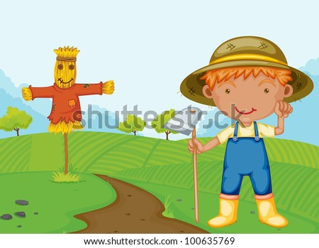 Illustration of a farm boy - EPS VECTOR format also available in my portfolio. - stock photo