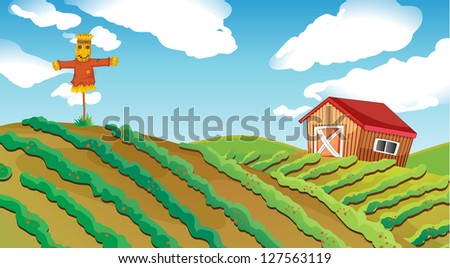 Illustration of a farm house and a scarescrow