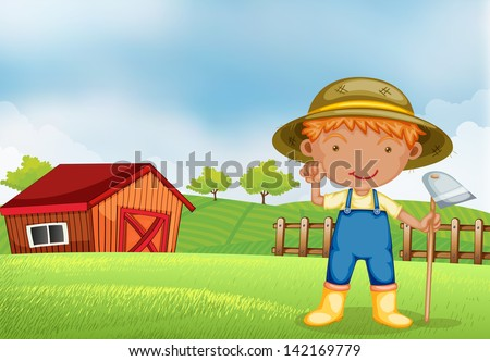 Illustration of a farmer holding a hoe - stock photo