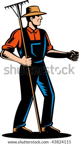 illustration of a Farmer standing to side and holding a rake