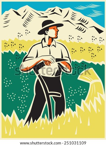 Illustration of a farmer standing with scythe in wheat field looking to the side with mountains in background done in retro woodcut style. - stock photo