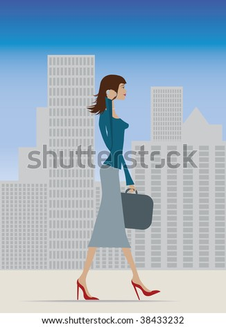 Illustration of a fashionable business woman in city - stock photo