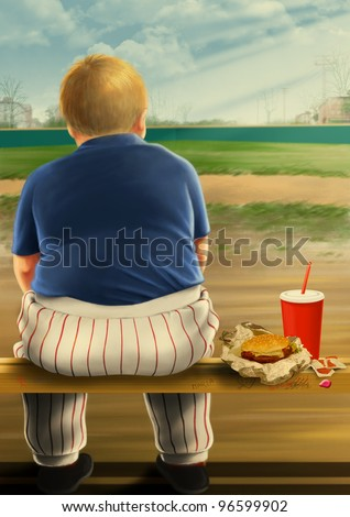 Illustration of a fat kid eating fast food. - stock photo