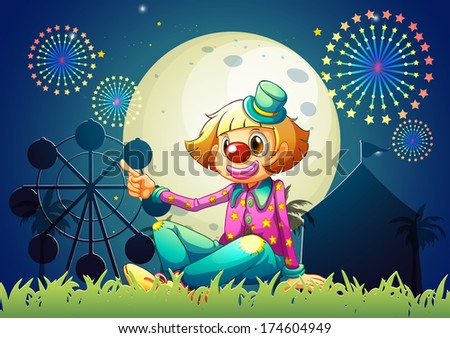 Illustration of a female clown at the carnival - stock photo