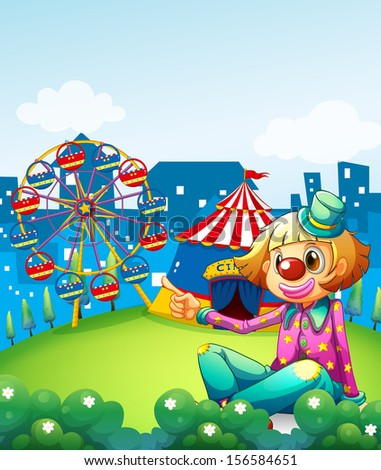 Illustration of a female clown pointing the carnival - stock photo