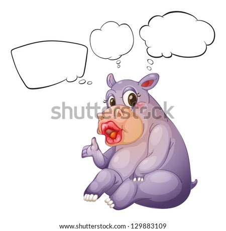 Illustration of a female hippopotamus on a white background - stock photo