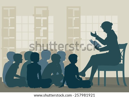 Illustration of a female teacher reading a story to her pupils sitting on the floor