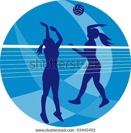 Illustration of a female volleyball player spiking hitting ball with other player blocking on isolated background.