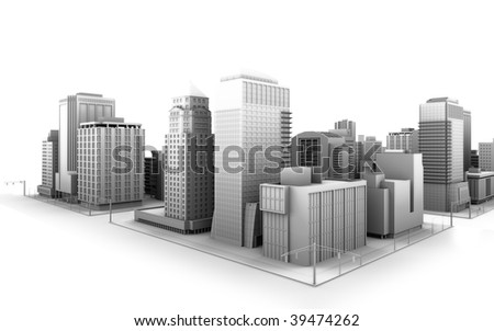 Illustration of a fictional city - stock photo