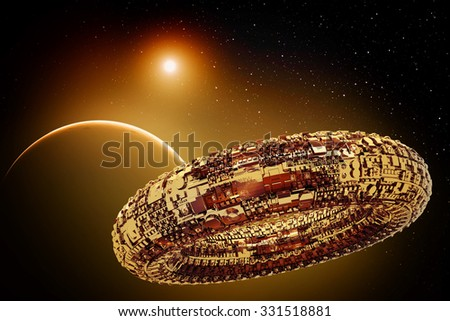 Illustration of a fictional universe with space ship and planets - stock photo