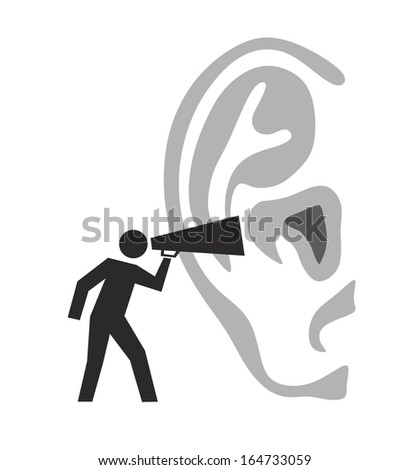 illustration of a figure shouting in an ear - stock photo