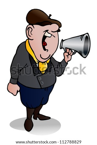 illustration of a film director yell  to his team on isolated white background - stock photo