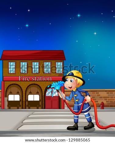 Illustration of a fireman near a fire station - stock photo
