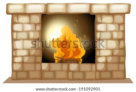 Illustration of a fireplace on a white background