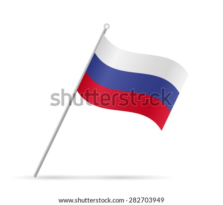 Illustration of a flag from Russia isolated on a white background.