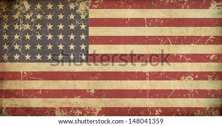 Illustration of a flat 'n aged US 48 star flag of the period 1912-1959. This design was used by the US in both World Wars and the Korean war. - stock photo