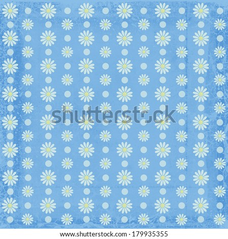 Illustration of a floral pattern on a light blue background./Grunge Floral Pattern - stock photo