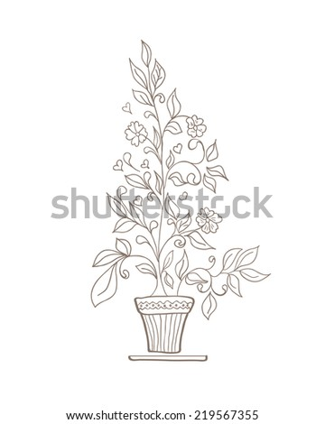 illustration of a flower and a pot sketch on a white background - stock photo