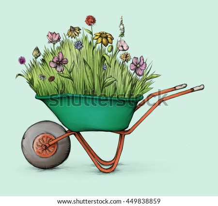Illustration of a Flower meadow in wheelbarrow
