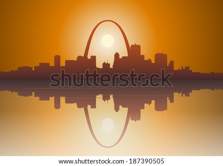 Illustration of a foggy  St. Louis, Missouri sunset over the Mississippi river.  - stock photo