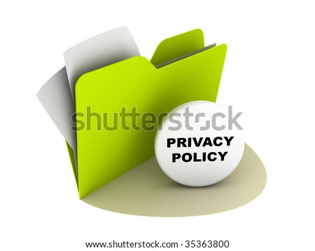 illustration of a folder with privacy policy button - stock photo