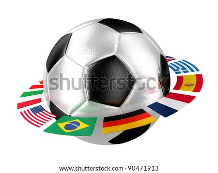 Illustration of a football with flags of the different countries of the world - stock photo