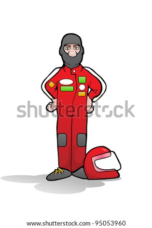 illustration of a formula car driver on uniform suit - stock photo