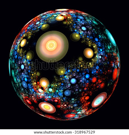 illustration of a fractal background ball ornament - stock photo