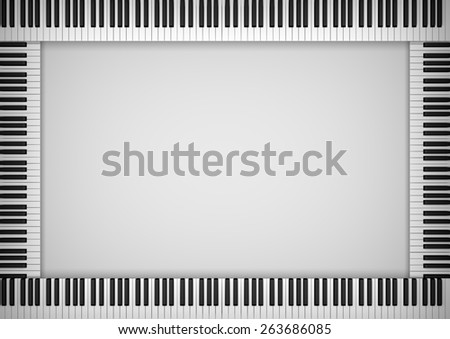 Illustration of a frame made of piano keys - stock photo