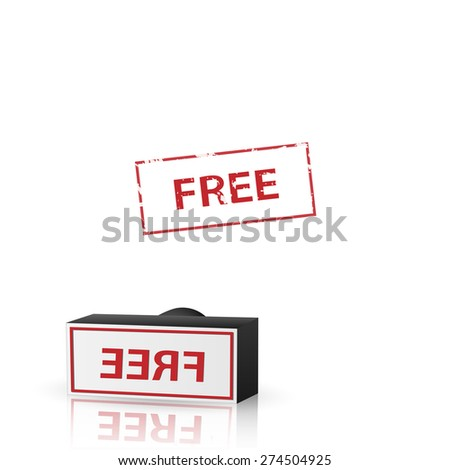 Illustration of a free stamp isolated on a white background. - stock photo