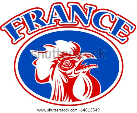 "illustration of a french mascot rooster cockerel cock set inside rugby ball shape with words ""france"""