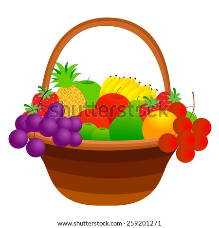 Illustration of a fruit basket with mixed fruits including apple, pineapple, strawberry, banana, cherries etc. isolated on white background - stock photo